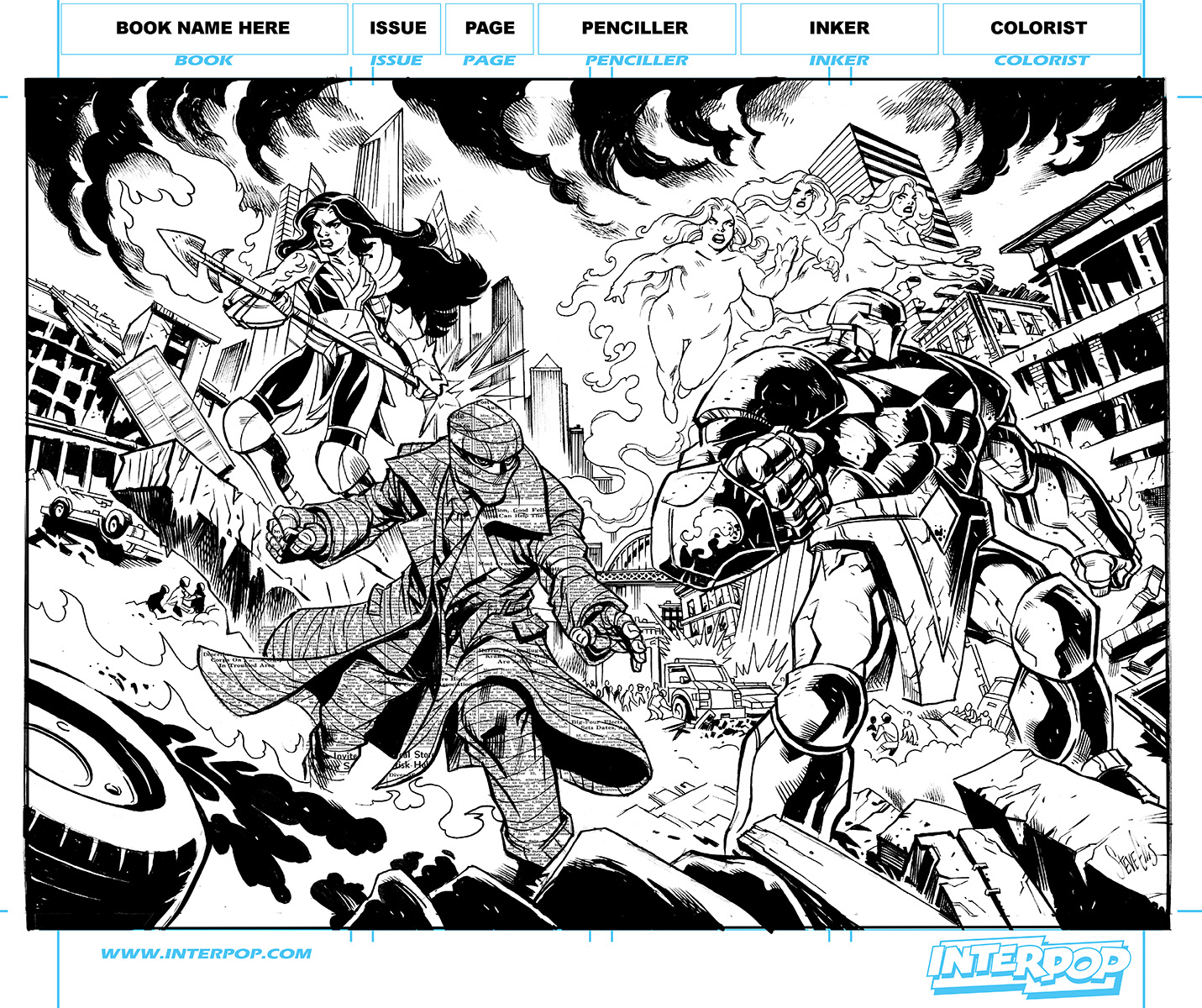 The Nine #0 page 1 inks